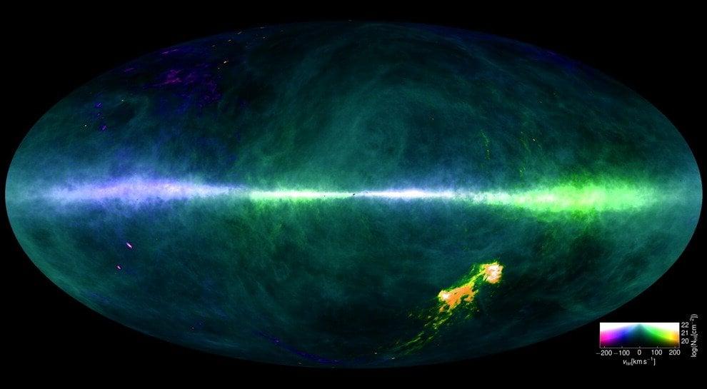 Il cielo visto all'idrogeno, la mappa della Via Lattea