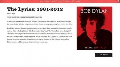 Bob Dylan ci ripensa: via dal sito  la citazione del premio Nobel