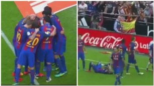 Neymar colpito da una bottiglia Finisce a terra: la rabbia di Messi