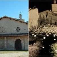 Terremoto centro Italia, la chiesa di San Salvatore a Campi di Norcia prima e dopo il crollo