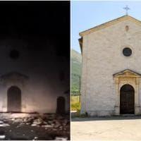 Terremoto centro Italia, il crollo della chiesa di Madonna delle Grazie a Norcia