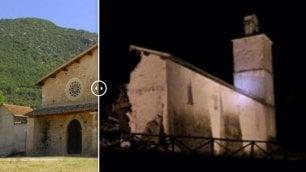 Chiese, palazzi e strade  Prima e dopo il sisma