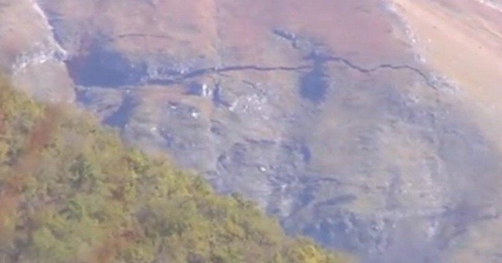 Castelsantangelo sul Nera, la montagna spaccata dal sisma