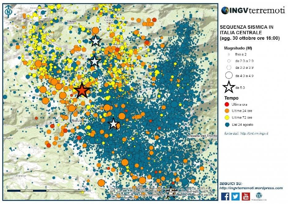 Cartina Italia Terremoti.Terremoto Centro Italia La Mappa Delle Scosse Elaborata Dall Ingv La Repubblica