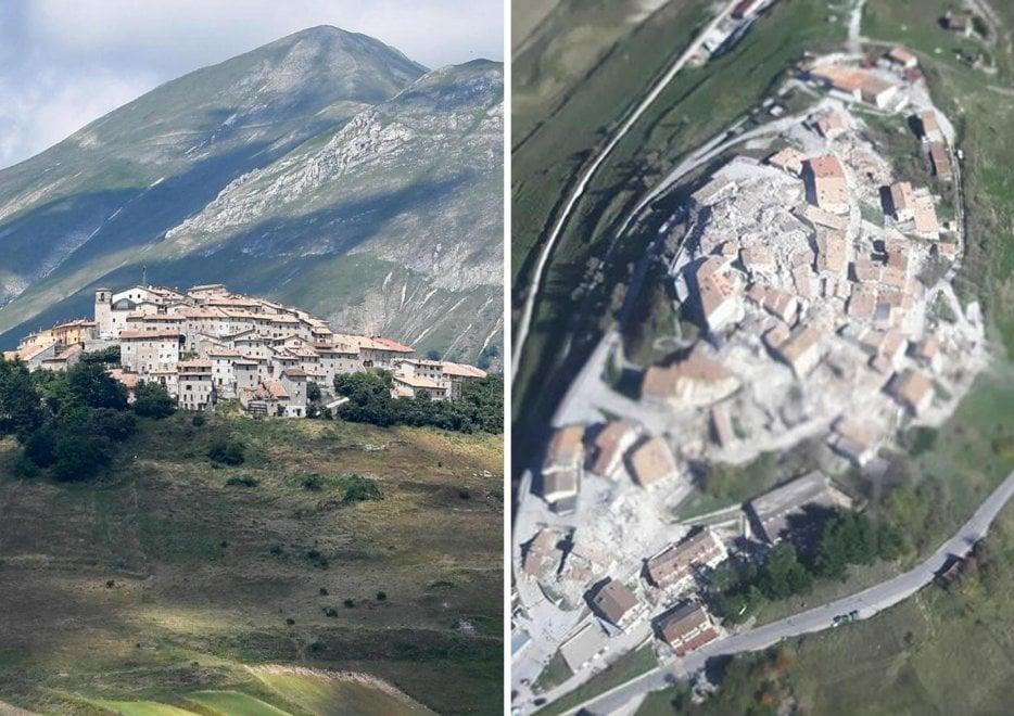Terremoto Centro Italia, Castelluccio di Norcia prima e dopo il sisma