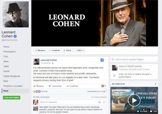 È morto Leonard Cohen, addio al maestro della poesia in musica