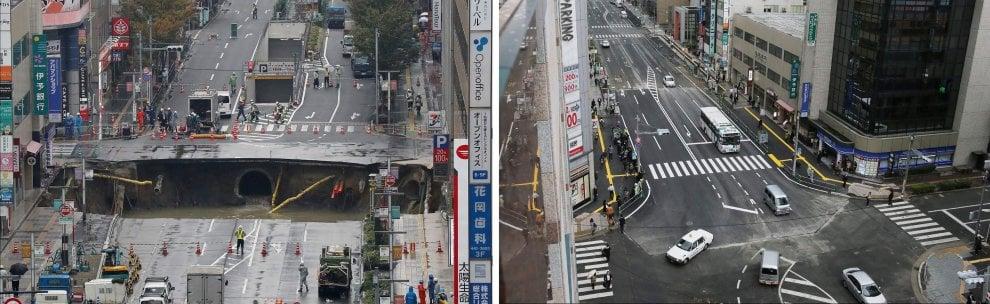 Giappone, riapre la strada collassata: voragine di 30 metri riparata in due giorni