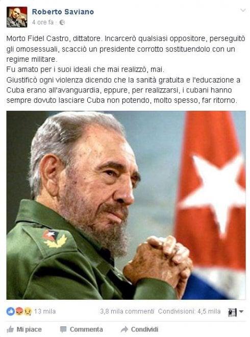 """Morte Fidel Castro, Saviano: """"Non realizzò mai i suoi ideali"""""""