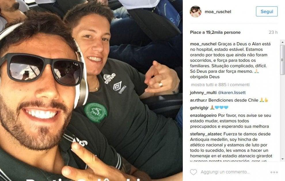 """Tragedia Chapecoense, la moglie del calciatore sopravvissuto: """"Preghiamo per chi non ce l'ha fatta"""""""
