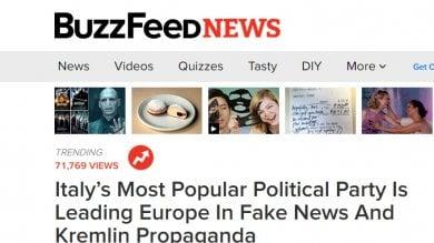 BuzzFeed sul M5S: Partito leader nel diffondere bufale e adesso filo-Putin