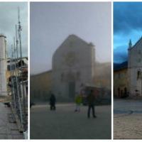 Norcia, a un mese dal terremoto i vigili puntellano l'abbazia di San Benedetto
