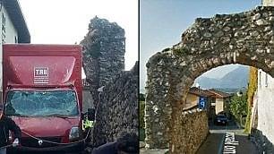 Brescia, la consegna è un disastro: il furgone abbatte l'arco del '400