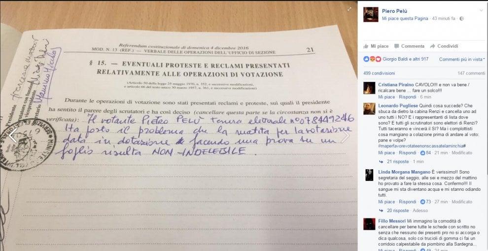 "Referendum, Pelù su Facebook: ""Matita cancellabile"". Il Viminale: ""Tutto regolare"""