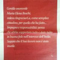 Compra una pagina sul quotidiano Libero per Maria Elena Boschi: ''Il suo lavoro non è stato inutile''