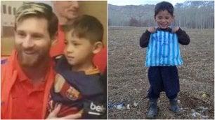 Murtaza incontra Messi, realizzato il sogno del piccolo fan afgano con la maglia di plastica