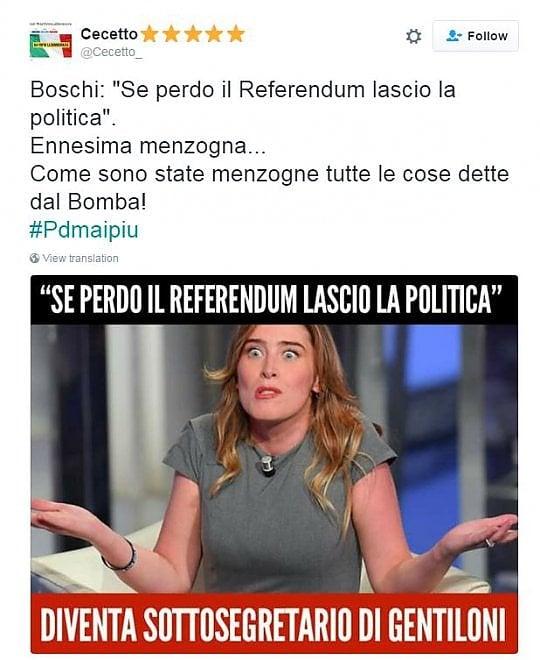 Quando Boschi disse: ''Se vince il No al referendum lascio la politica''. E Twitter si scatena