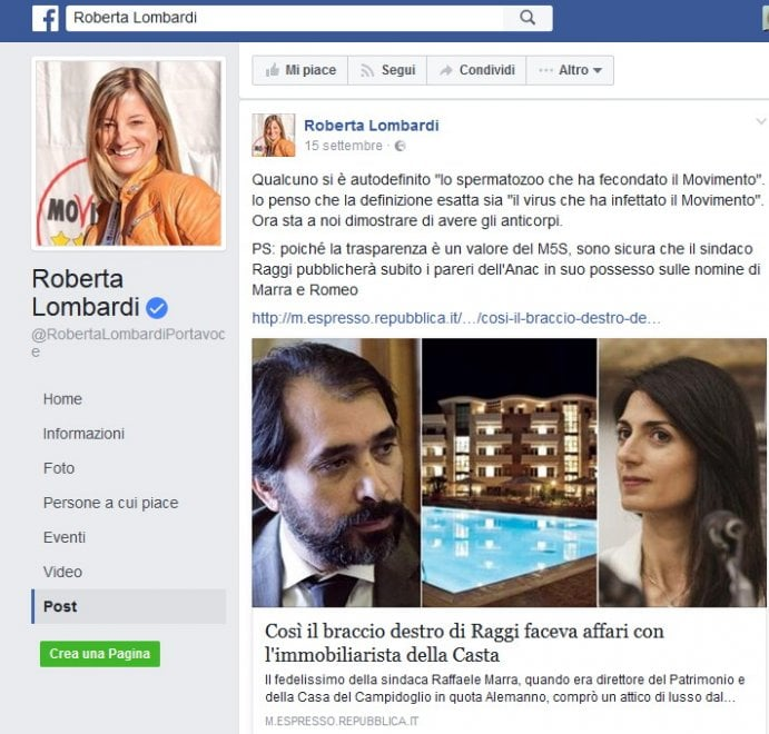 """Roma, Marra arrestato: quando Roberta Lombardi lo definì """"Il virus che ha infettato il Movimento"""""""