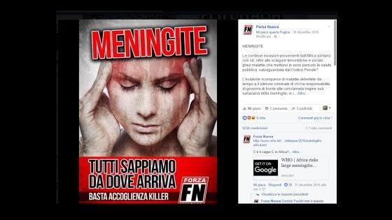 Da Forza Nuova una bufala sulla meningite ma Facebook non la cancella