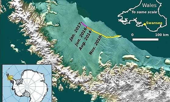Un iceberg grande come la Liguria sta per staccarsi in Antartide