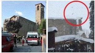 Amatrice, il campanile è crollato Le immagini prima e dopo