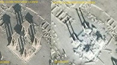 Siria, Isis distrugge il Tetrapilo di Palmira e facciata teatro romano  foto prima/dopo