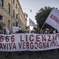 Almaviva, la protesta dei lavoratori