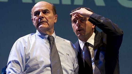 """Pd, Bersani: """"Penso ad Ulivo 4.0 non ad un revival"""". Renzi: """"Scissione non la capirebbe nessuno"""""""