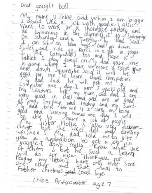 Chloe, 7 anni scrive al Ceo di Google, Sundar Pichai