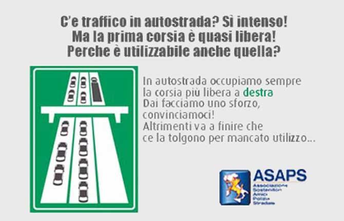 L'Asaps lancia una campagna per l'utilizzo della corsia di destra