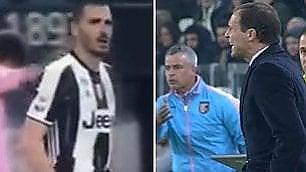 Parole grosse tra Bonucci e Allegri Lite durante Juve-Palermo