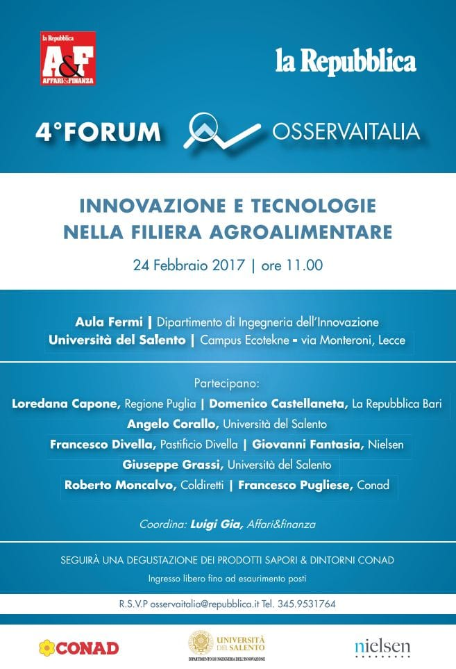Innovare in agricoltura: a Lecce il Forum di Osservaitalia
