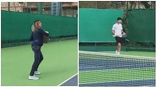 Pennetta gioca a tennis incinta, ma la sorpresa è nel campo vicino