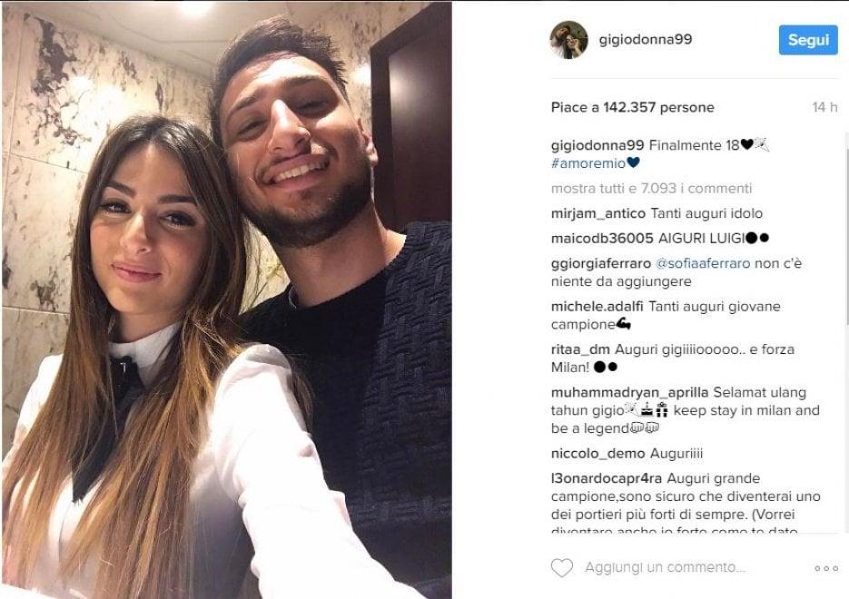 Milan, Donnarumma compie 18 anni: gli auguri social con la fidanzata