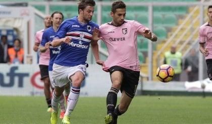Quagliarella salva la Sampdoria   foto   Palermo, la beffa arriva al 90' /   Pagelle