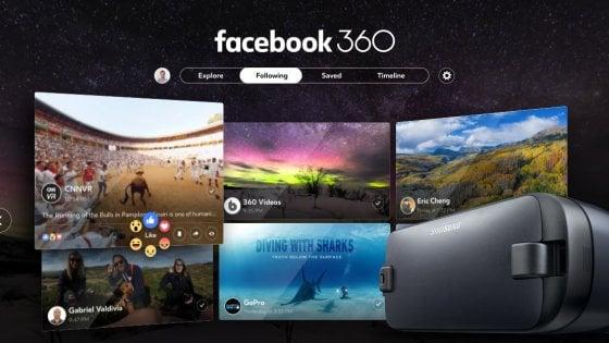 Facebook a 360° con l'app di Samsung Gear VR