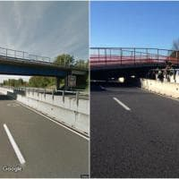 Ancona, il cavalcavia dell'A14 prima e dopo il crollo