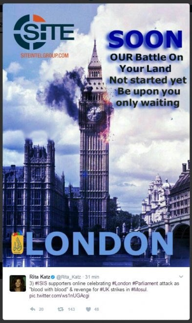 Attacco a Westminster, l'esultanza dei simpatizzanti dell'Isis: il fotomontaggio del Big Ben in fiamme