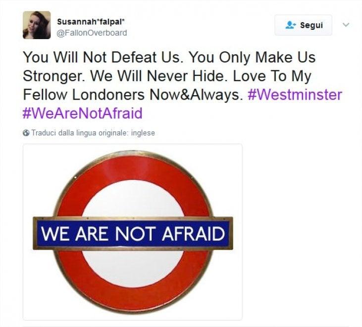 Attacco a Westminster, solidarietà su Twitter con #WeAreNotAfraid