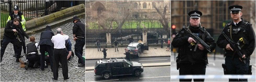 Attacco a Westminster, killer fa 4 morti davanti a Parlamento.Falcia la folla con l'auto e accoltella poliziotto, poi viene ucciso