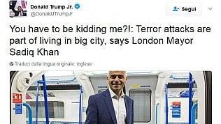 Trump Jr. contro il sindaco Khansu Twitter fa infuriare i londinesi