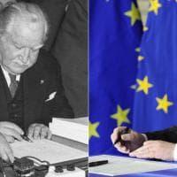 Roma, firma dei Trattati Ue:  stessa penna per Bech e Juncker - fotoconfronto 1957-2017