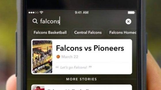 Snapchat attiva la ricerca per le Storie