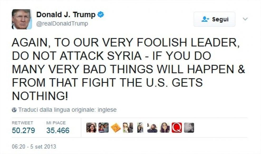 Siria, quando Trump scriveva su Twitter: ''Una follia colpire Damasco''