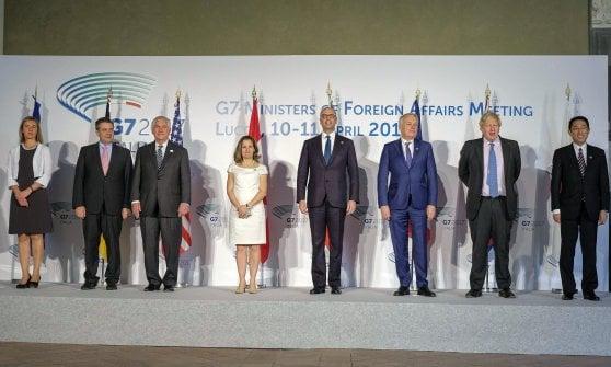 """Siria, G7 per """"soluzione politica"""". Tillerson: """"Assad inaffidabile. Russia scelga"""""""