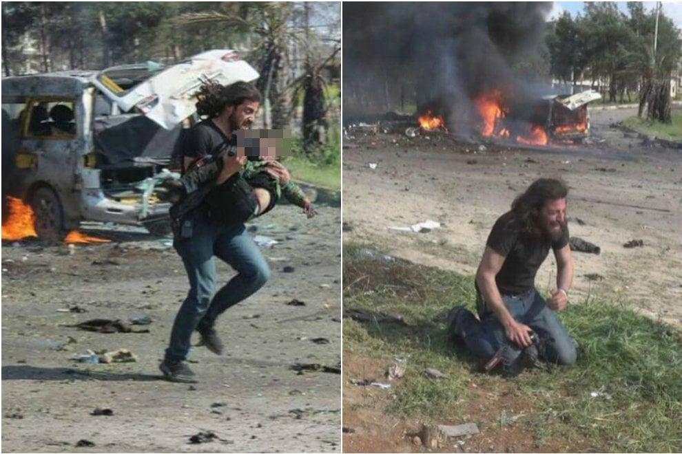 Autobomba ad Aleppo, la disperazione del fotografo eroe: in ginocchio dopo l'attacco suicida