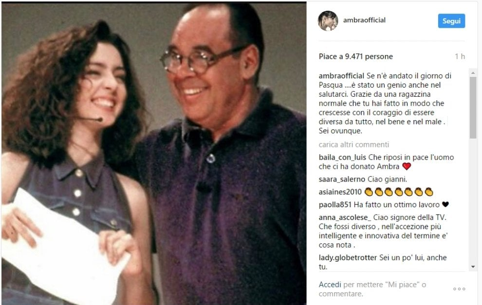 """Addio a Boncompagni, il saluto di Ambra su Instagram: """"Un genio anche nel salutarci"""""""