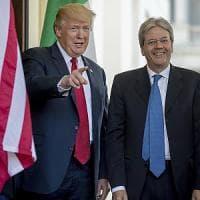 """Trump accoglie il premier Gentiloni alla Casa Bianca: """"Italia partner chiave contro..."""
