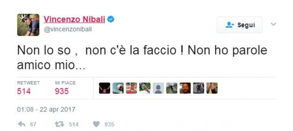 Da Nibali ad Aru, l'addio su Twitter a Michele Scarponi