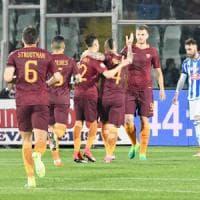 Pescara-Roma 1-4, i giallorossi allungano sul Napoli