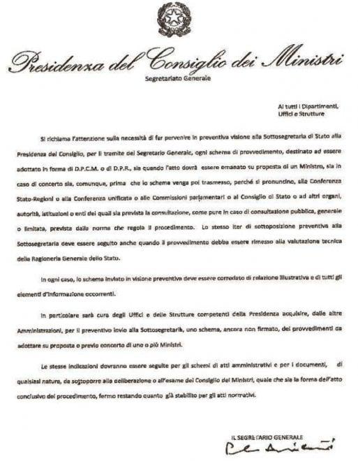 La circolare inviata dalla sottosegretaria alla Presidenza del Consiglio